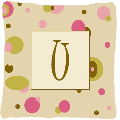 Monogram Initial Tan Dots Indoor/Outdoor Throw Pillow Letter: U