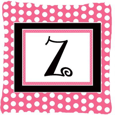 Letter Initial Monogram Pink Black Polka Dots Indoor/Outdoor Throw Pillow Letter: Z