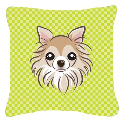 Checkerboard Chihuahua Indoor/Outdoor Throw Pillow Color: Green, Size: 14