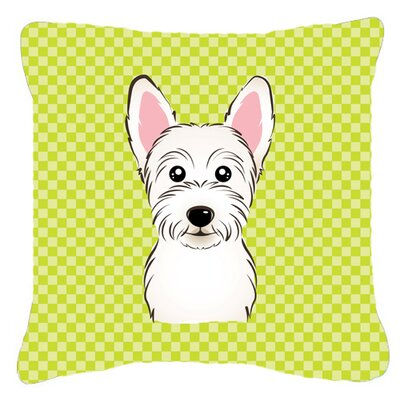 Checkerboard Westie Indoor/Outdoor Throw Pillow Color: Green, Size: 14 H x 14 W x 4 D