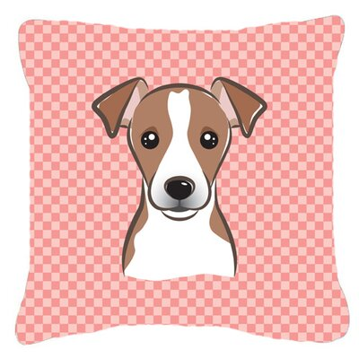 Checkerboard Jack Russell Terrier Indoor/Outdoor Throw Pillow Color: Pink, Size: 18 H x 18 W x 5.5 D