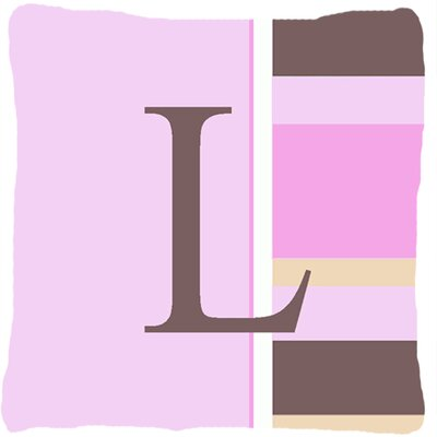 Monogram Initial Pink Stripes Indoor/Outdoor Throw Pillow Letter: L