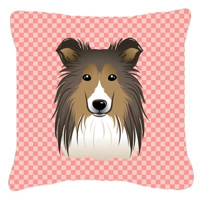 Checkerboard Sheltie Indoor/Outdoor Throw Pillow Color: Pink, Size: 14 H x 14 W x 4 D