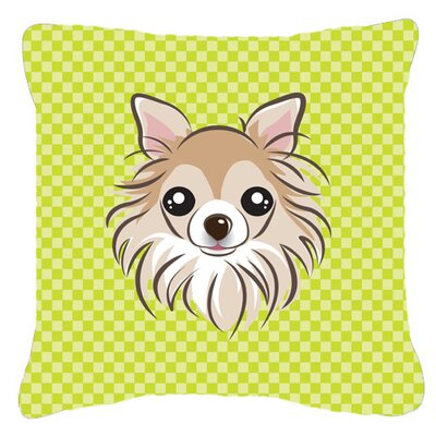 Checkerboard Chihuahua Indoor/Outdoor Throw Pillow Color: Green, Size: 18