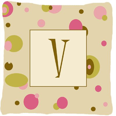Monogram Initial Tan Dots Indoor/Outdoor Throw Pillow Letter: V