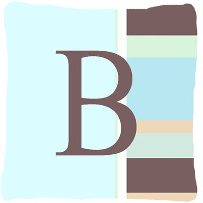 Letter Initial Monogram Blue Stripes Indoor/Outdoor Throw Pillow Letter: B