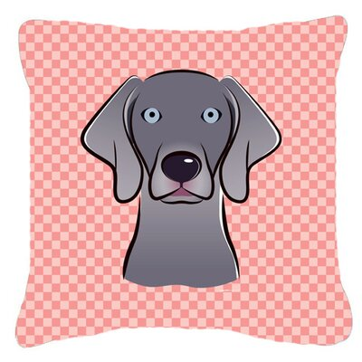 Checkerboard Weimaraner Indoor/Outdoor Throw Pillow Color: Pink, Size: 14 H x 14 W x 4 D