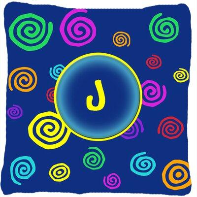 Monogram Initial Blue Swirls Indoor/Outdoor Throw Pillow Letter: J