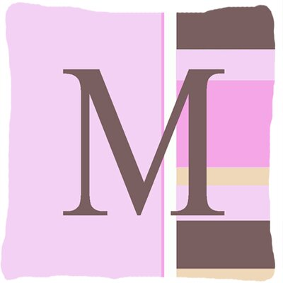Monogram Initial Pink Stripes Indoor/Outdoor Throw Pillow Letter: M