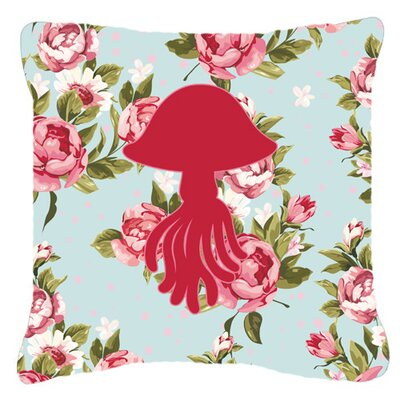 Jellyfish Shabby Elegance Blue Roses Indoor/Outdoor Throw Pillow Size: 14 H x 14 W x 4 D