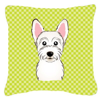 Checkerboard Westie Indoor/Outdoor Throw Pillow Color: Green, Size: 18 H x 18 W x 5.5 D