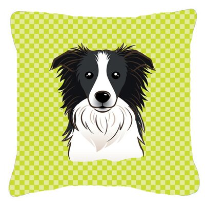 Checkerboard Border Collie Indoor/Outdoor Throw Pillow Color: Green, Size: 14 H x 14 W x 4 D