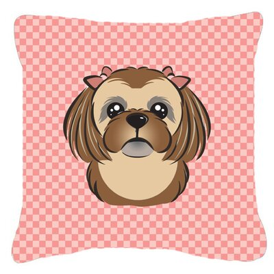 Checkerboard Chocolate Brown Shih Tzu Indoor/Outdoor Throw Pillow Color: Pink, Size: 14 H x 14 W x 4 D