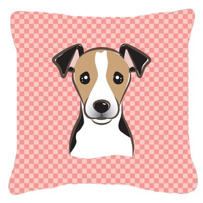 Checkerboard Jack Russell Terrier Indoor/Outdoor Throw Pillow Size: 14 H x 14 W x 4 D, Color: Pink