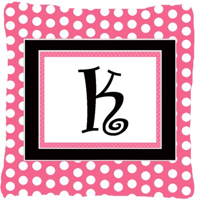 Letter Initial Monogram Pink Black Polka Dots Indoor/Outdoor Throw Pillow Letter: K