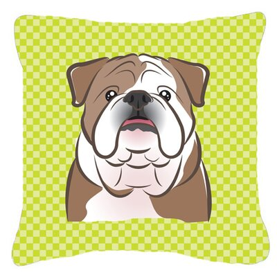 Checkerboard English Bulldog Indoor/Outdoor Throw Pillow Color: Green, Size: 14 H x 14 W x 4 D