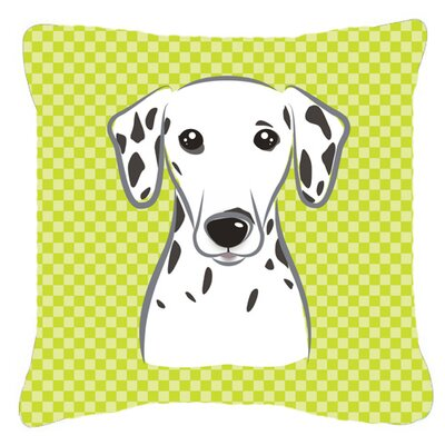 Checkerboard Dalmatian Indoor/Outdoor Throw Pillow Color: Green, Size: 14 H x 14 W x 4 D