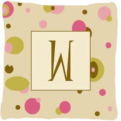 Monogram Initial Tan Dots Indoor/Outdoor Throw Pillow Letter: W