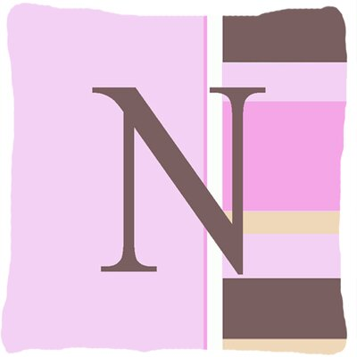 Monogram Initial Pink Stripes Indoor/Outdoor Throw Pillow Letter: N
