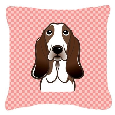 Checkerboard Basset Hound Indoor/Outdoor Throw Pillow Size: 14 H x 14 W x 4 D, Color: Pink