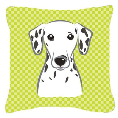 Checkerboard Dalmatian Indoor/Outdoor Throw Pillow Size: 18 H x 18 W x 5.5 D, Color: Green