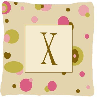 Monogram Initial Tan Dots Indoor/Outdoor Throw Pillow Letter: X
