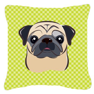 Checkerboard Fawn Pug Indoor/Outdoor Throw Pillow Color: Green, Size: 14 H x 14 W x 4 D