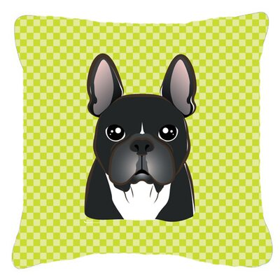 Checkerboard French Bulldog Indoor/Outdoor Throw Pillow Color: Green, Size: 18 H x 18 W x 5.5 D