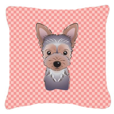 Checkerboard Yorkie Puppy Indoor/Outdoor Throw Pillow Color: Pink, Size: 14 H x 14 W x 4 D