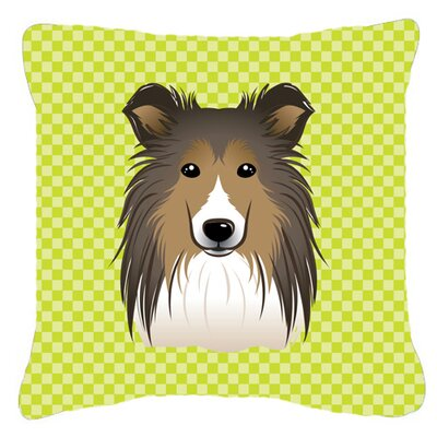 Checkerboard Sheltie Indoor/Outdoor Throw Pillow Size: 14 H x 14 W x 4 D, Color: Green