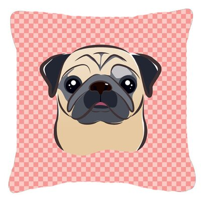 Checkerboard Fawn Pug Indoor/Outdoor Throw Pillow Size: 14 H x 14 W x 4 D, Color: Pink