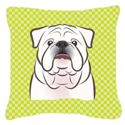 Checkerboard White English Bulldog Indoor/Outdoor Throw Pillow Color: Green, Size: 14 H x 14 W x 4 D