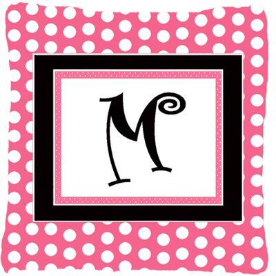 Letter Initial Monogram Pink Black Polka Dots Indoor/Outdoor Throw Pillow Letter: M