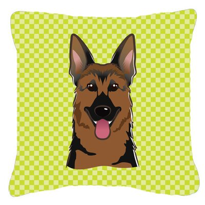 Checkerboard German Shepherd Indoor/Outdoor Throw Pillow Size: 14 H x 14 W x 4 D, Color: Green