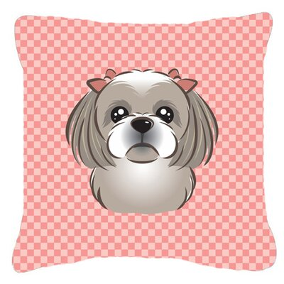 Checkerboard Gray Silver Shih Tzu Indoor/Outdoor Throw Pillow Color: Pink, Size: 14 H x 14 W x 4 D
