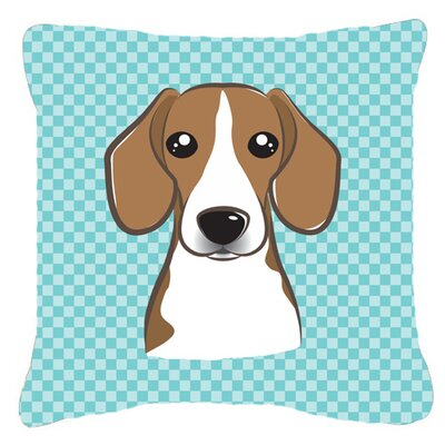Checkerboard Beagle Indoor/Outdoor Throw Pillow Color: Blue, Size: 14 H x 14 W x 4 D