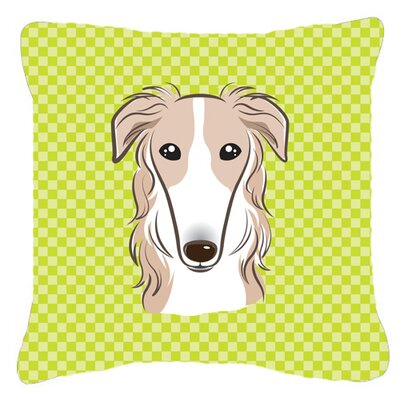 Checkerboard Borzoi Indoor/Outdoor Throw Pillow Color: Green, Size: 14 H x 14 W x 4 D