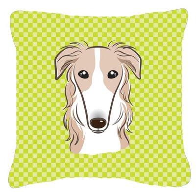 Checkerboard Borzoi Indoor/Outdoor Throw Pillow Size: 14 H x 14 W x 4 D, Color: Green