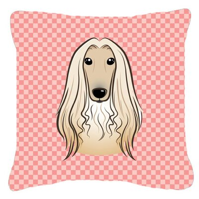 Checkerboard Afghan Hound Indoor/Outdoor Throw Pillow Color: Pink, Size: 14 H x 14 W x 4 D