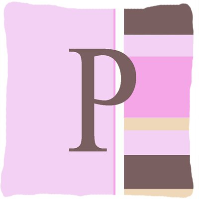 Monogram Initial Pink Stripes Indoor/Outdoor Throw Pillow Letter: P