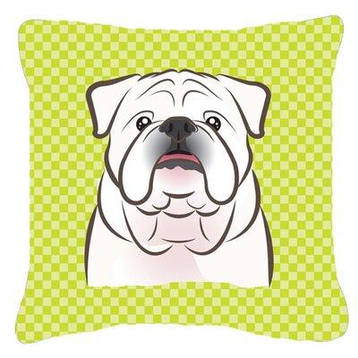 Checkerboard White English Bulldog Indoor/Outdoor Throw Pillow Color: Green, Size: 18 H x 18 W x 5.5 D
