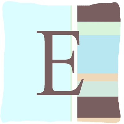 Letter Initial Monogram Blue Stripes Indoor/Outdoor Throw Pillow Letter: E