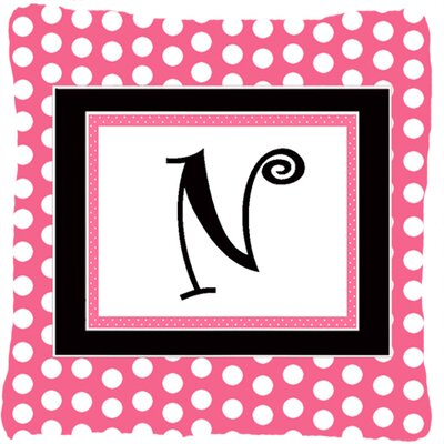 Letter Initial Monogram Pink Black Polka Dots Indoor/Outdoor Throw Pillow Letter: N