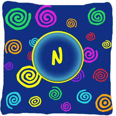 Monogram Initial Blue Swirls Indoor/Outdoor Throw Pillow Letter: N
