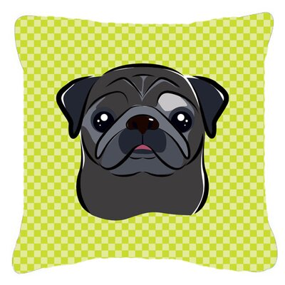 Checkerboard Black Pug Indoor/Outdoor Throw Pillow Color: Green, Size: 14 H x 14 W x 4 D