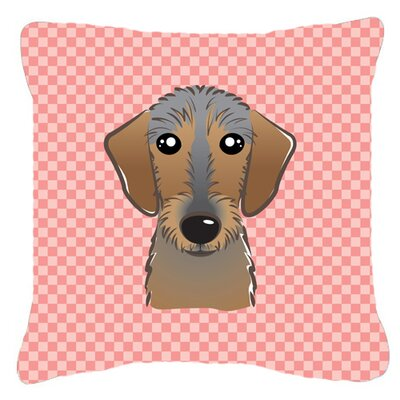 Checkerboard Wire Haired Dachshund Indoor/Outdoor Throw Pillow Color: Pink, Size: 14 H x 14 W x 4 D