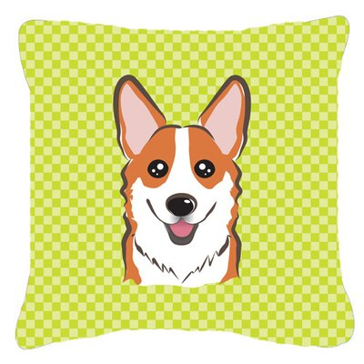 Checkerboard Corgi Indoor/Outdoor Throw Pillow Color: Green, Size: 14 H x 14 W x 4 D