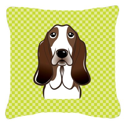 Checkerboard Basset Hound Indoor/Outdoor Throw Pillow Color: Green, Size: 14 H x 14 W x 4 D