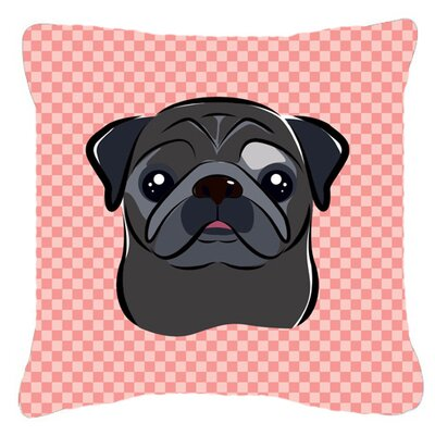 Checkerboard Black Pug Indoor/Outdoor Throw Pillow Color: Pink, Size: 14 H x 14 W x 4 D