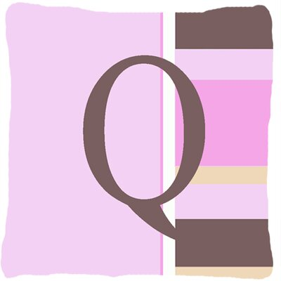 Monogram Initial Pink Stripes Indoor/Outdoor Throw Pillow Letter: Q
